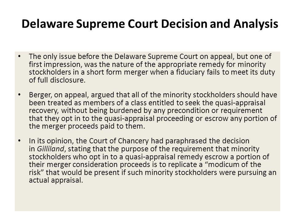 Delaware Supreme Court Decision and Analysis