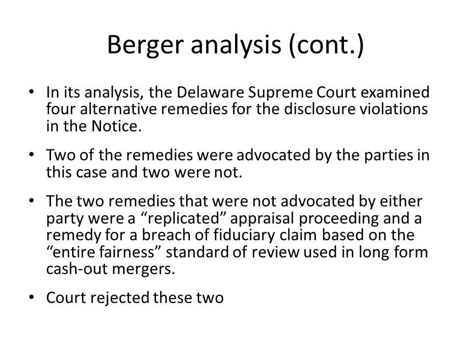 Berger analysis (cont.)