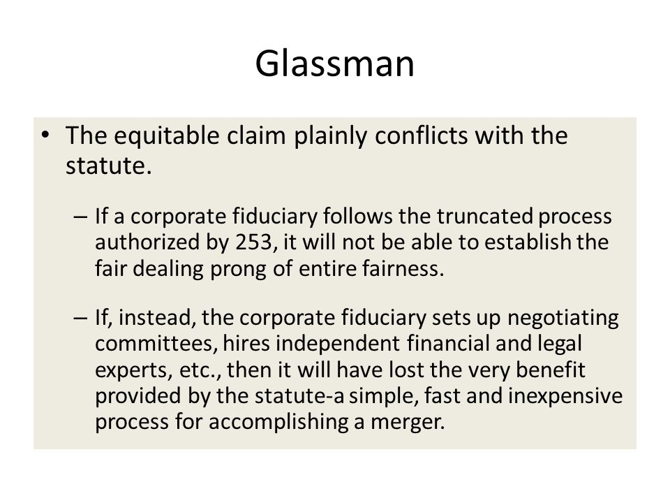 Glassman The equitable claim plainly conflicts with the statute.