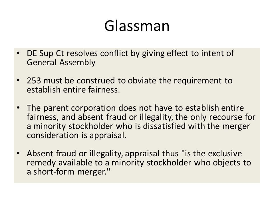 Glassman DE Sup Ct resolves conflict by giving effect to intent of General Assembly.