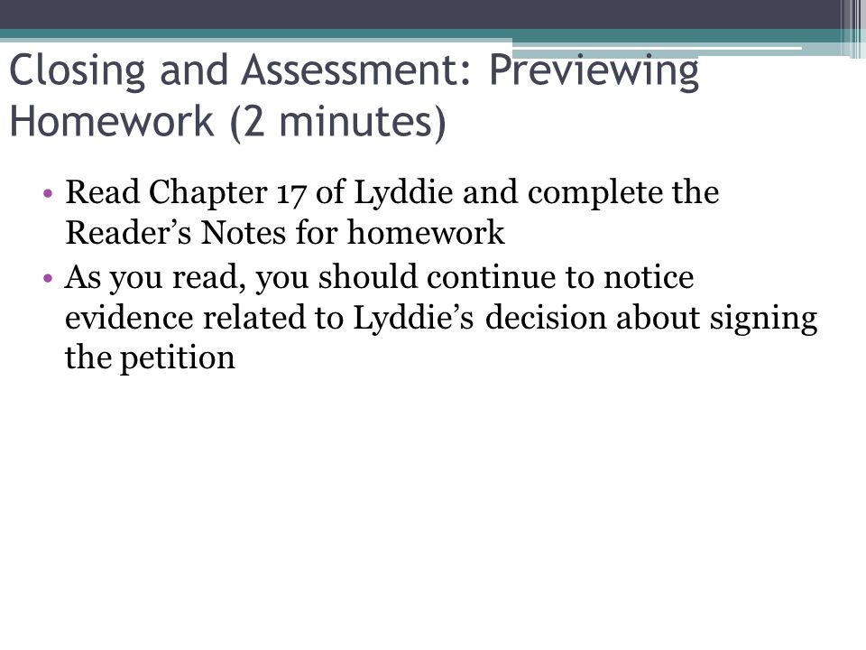 Closing and Assessment: Previewing Homework (2 minutes)