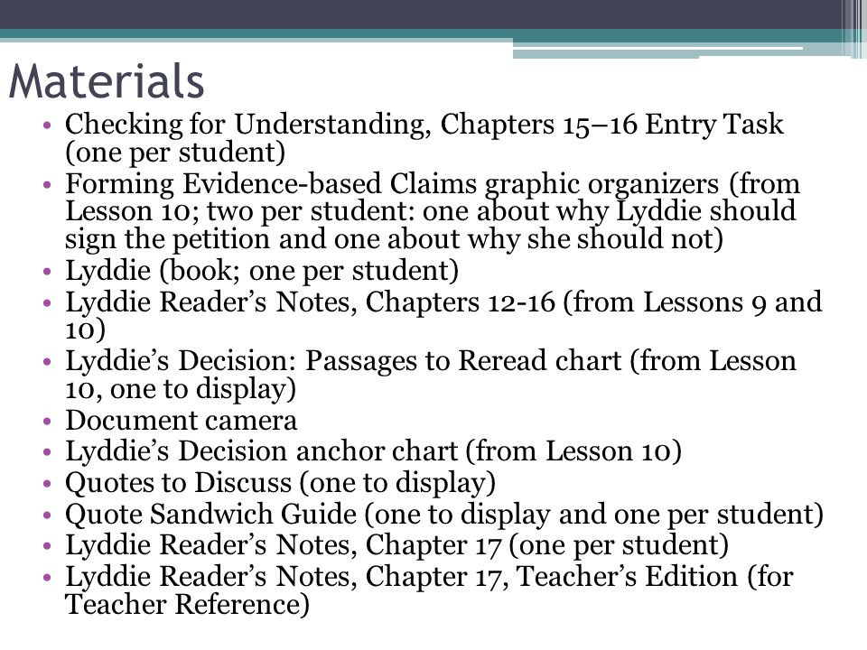 Materials Checking for Understanding, Chapters 15–16 Entry Task (one per student)