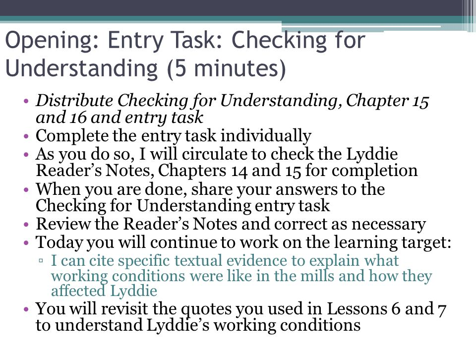 Opening: Entry Task: Checking for Understanding (5 minutes)