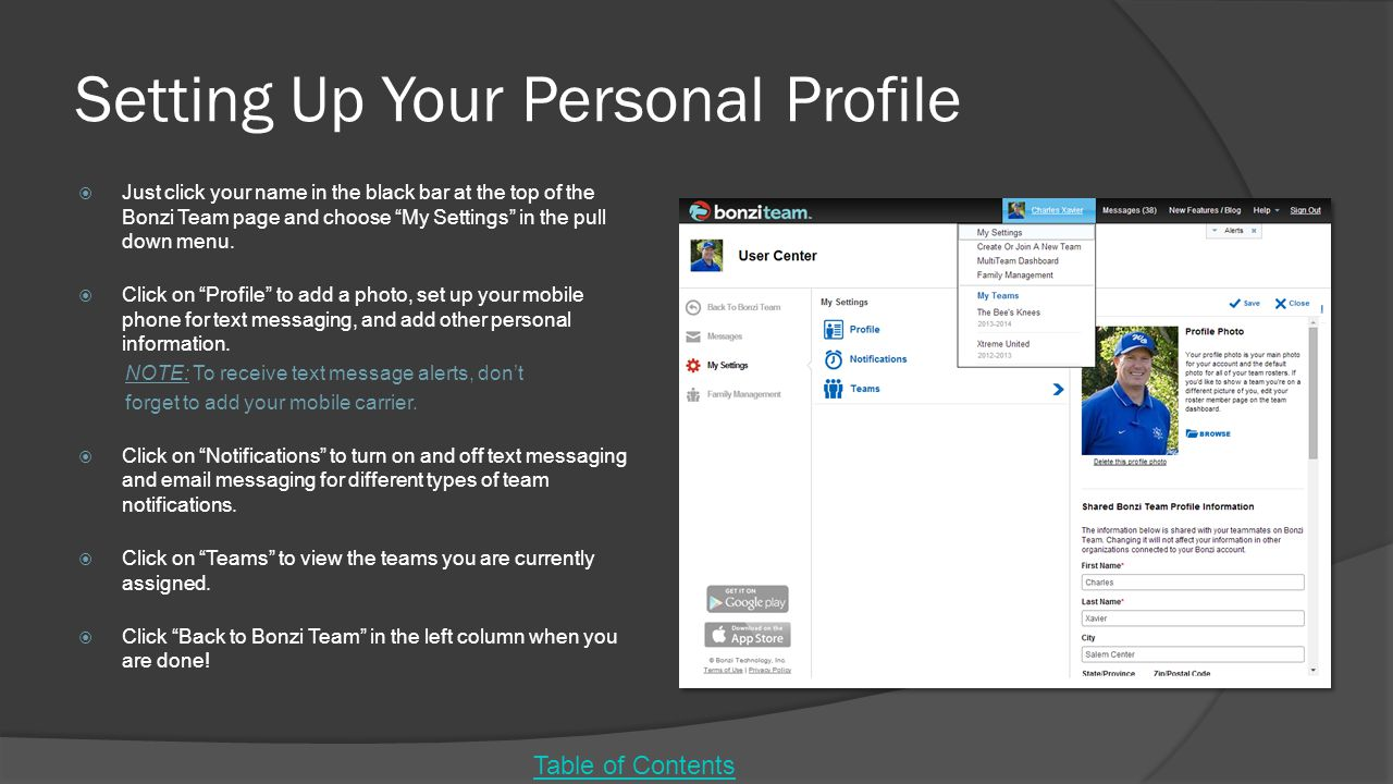 Setting Up Your Personal Profile