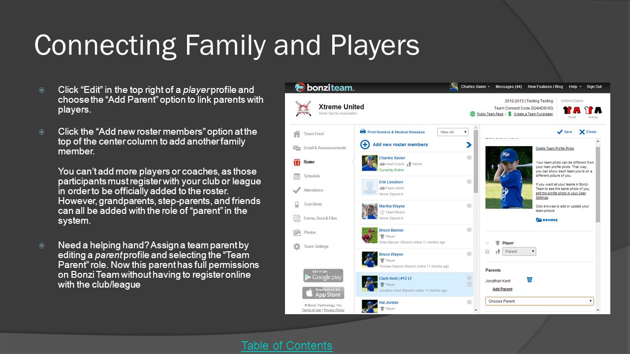 Connecting Family and Players