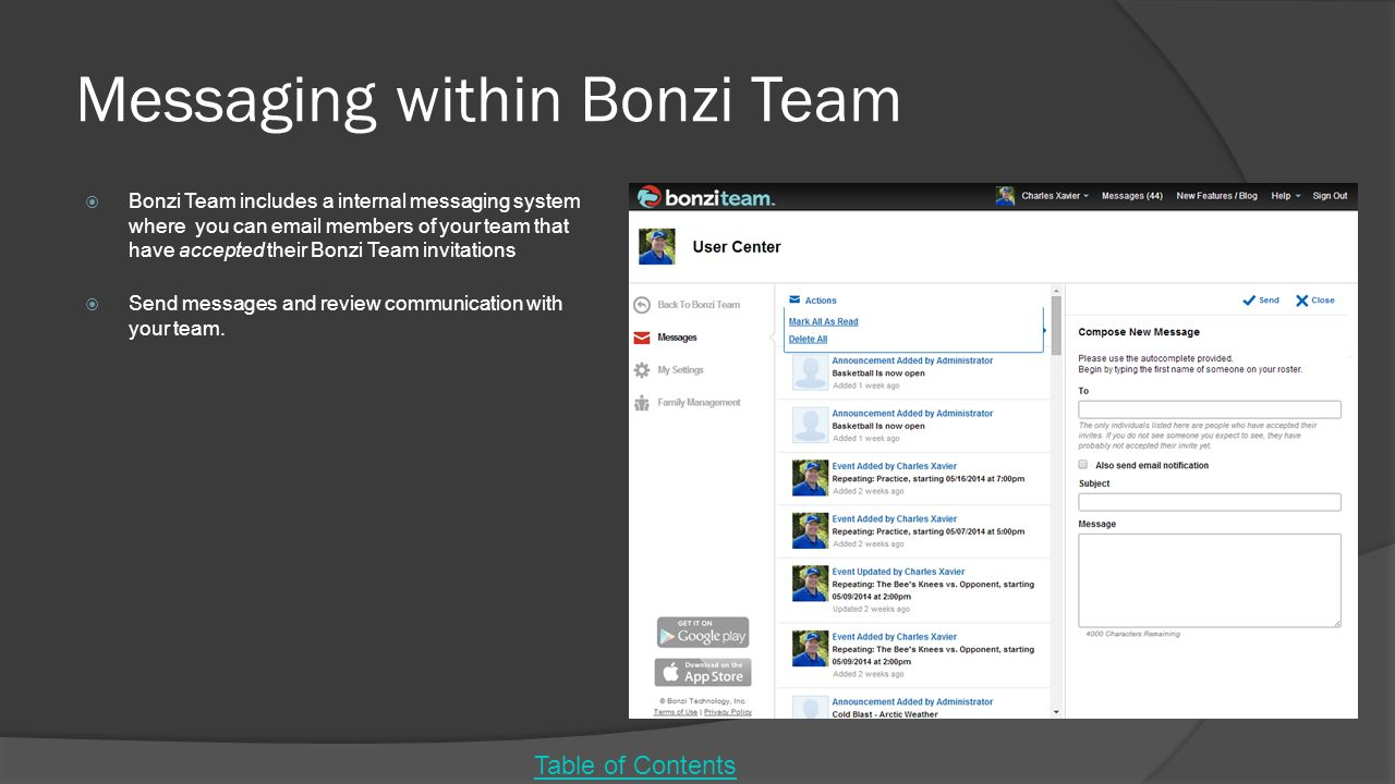 Messaging within Bonzi Team