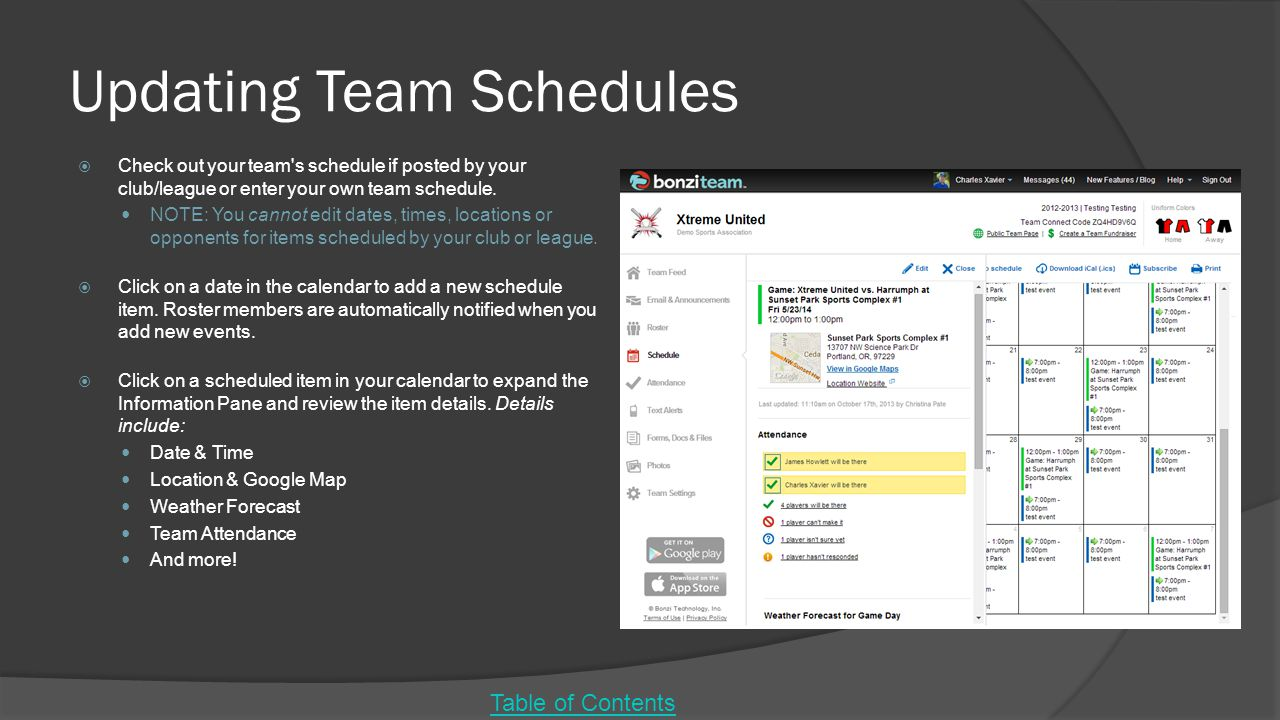 Updating Team Schedules