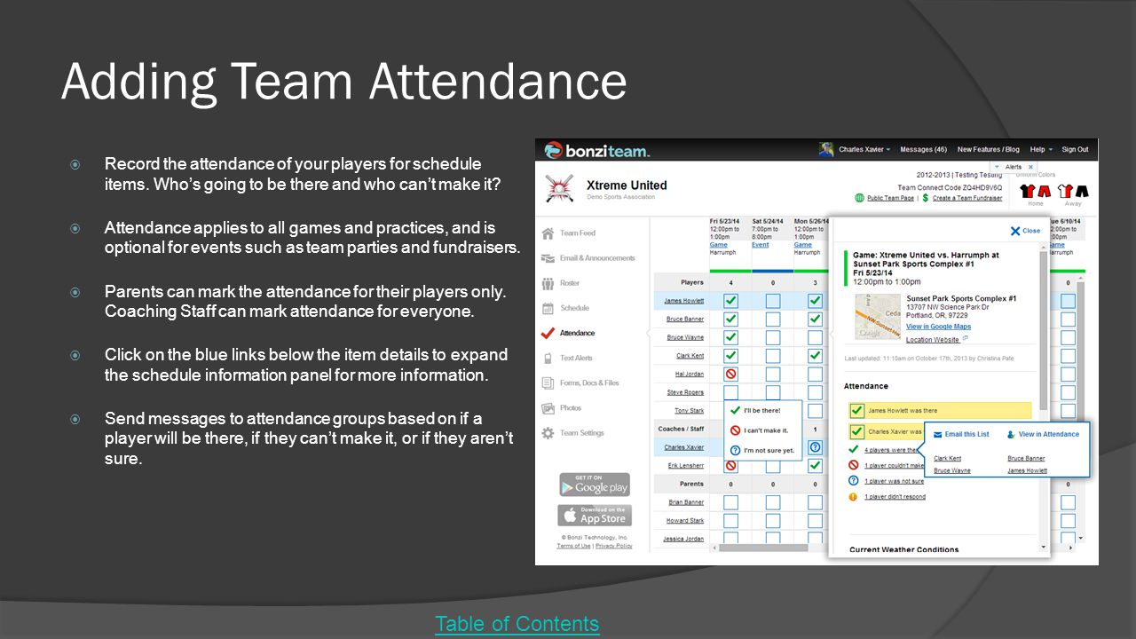 Adding Team Attendance