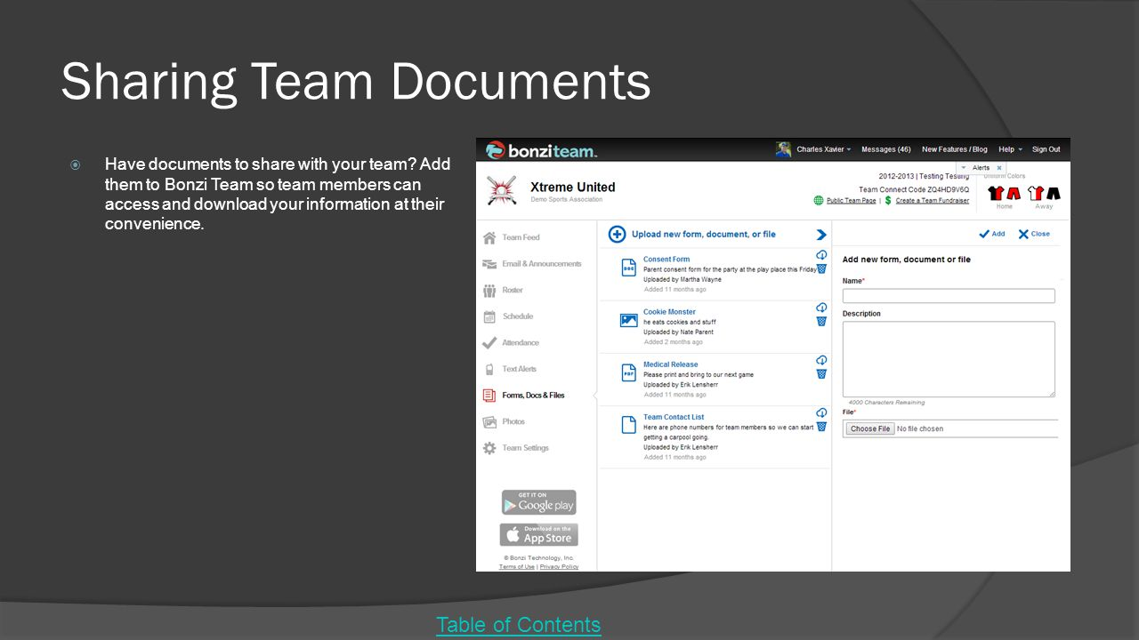 Sharing Team Documents