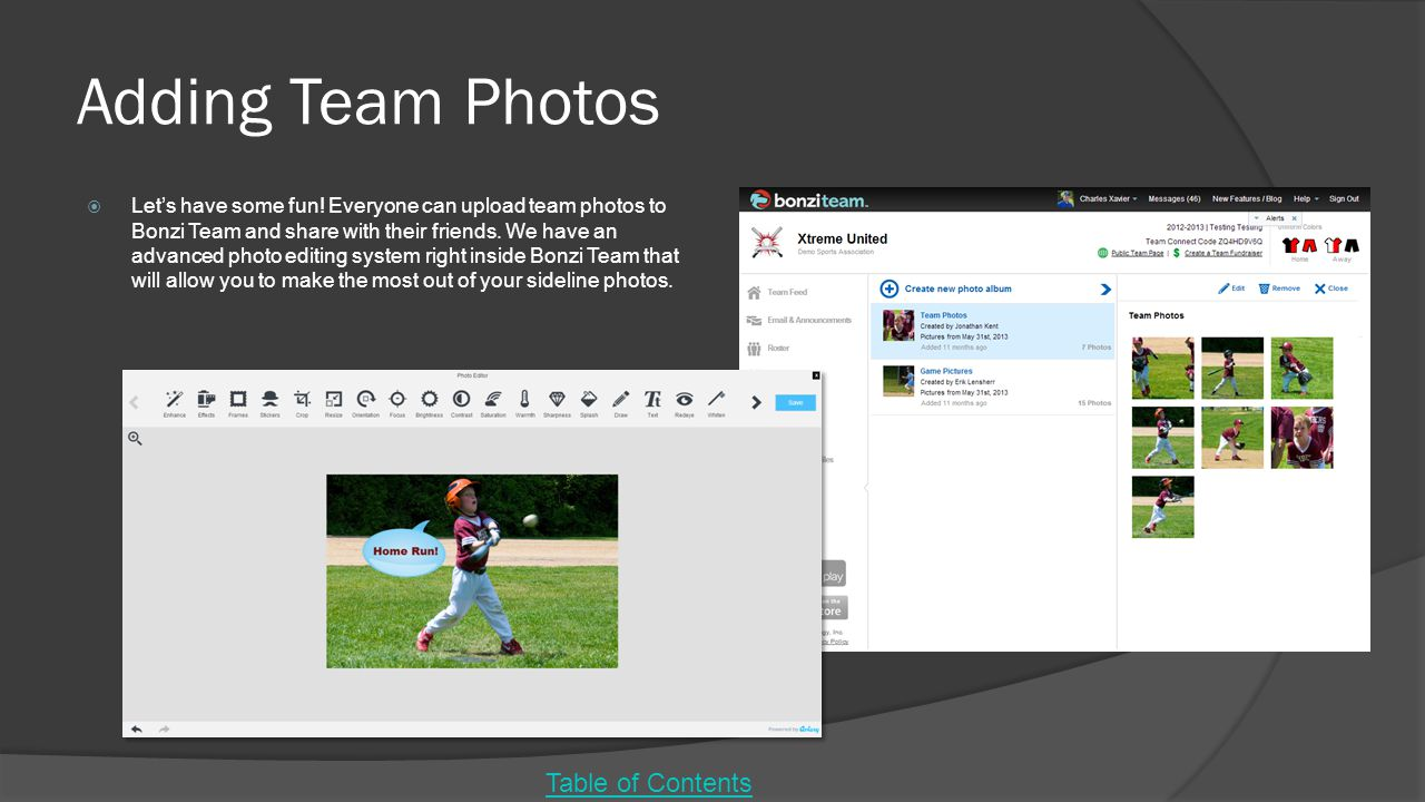 Adding Team Photos Table of Contents