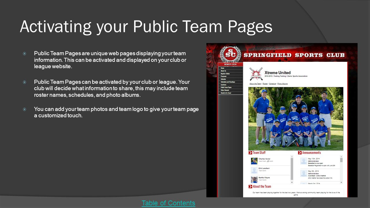 Activating your Public Team Pages
