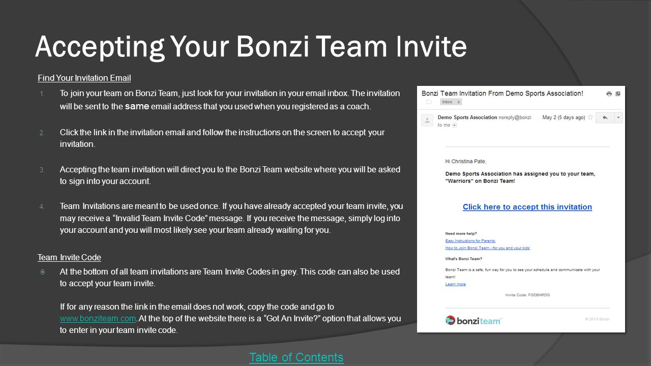 Accepting Your Bonzi Team Invite