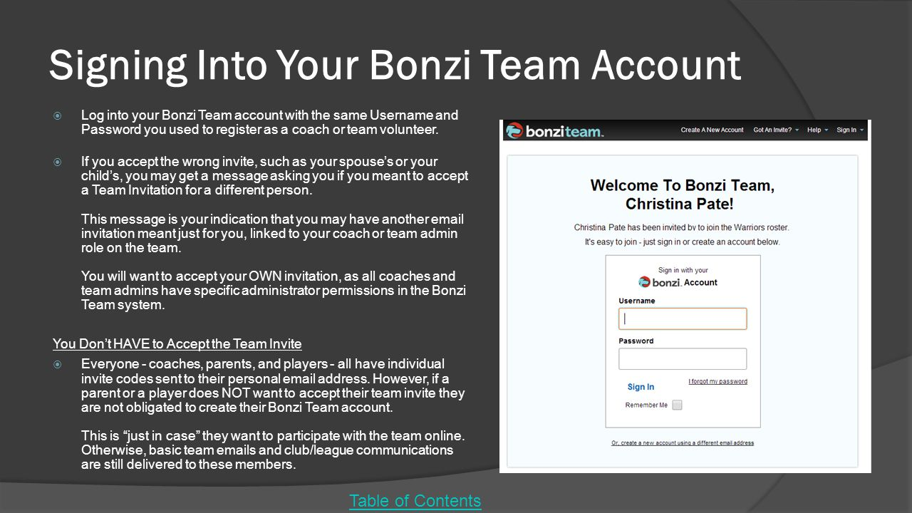 Signing Into Your Bonzi Team Account