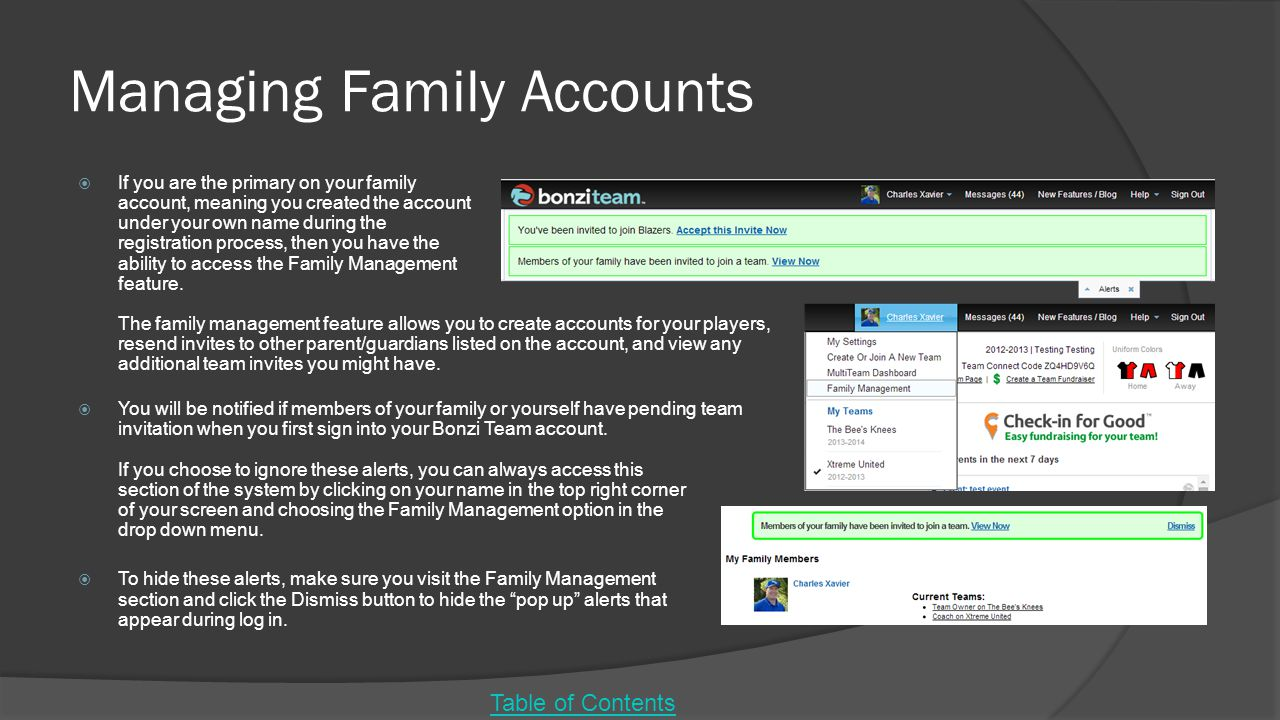 Managing Family Accounts