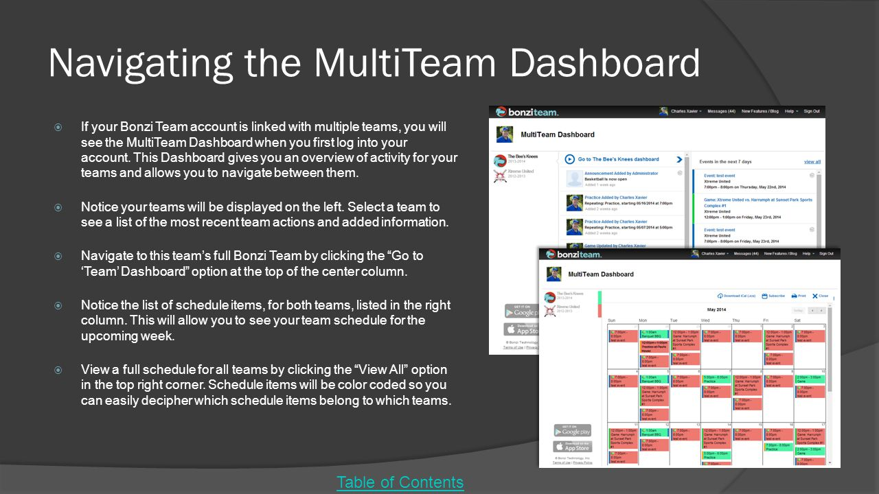 Navigating the MultiTeam Dashboard