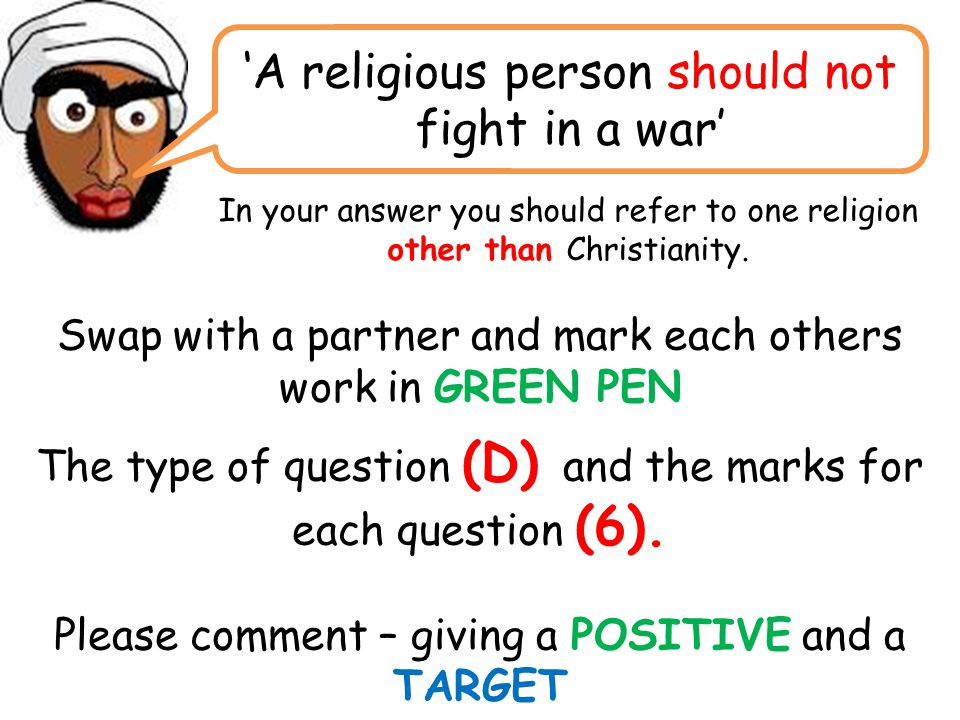 'A religious person should not fight in a war'