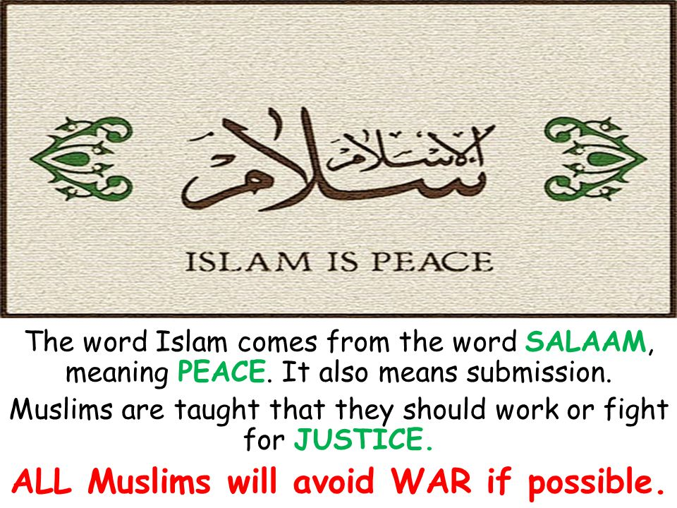 ALL Muslims will avoid WAR if possible.