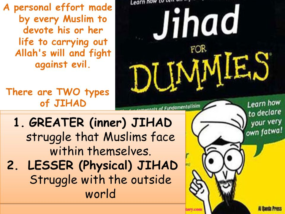lesser jihad The prophet muhammad once famously remarked, upon returning from battle,  that he had returned from the lesser jihad (physical fighting) only to engage in the .