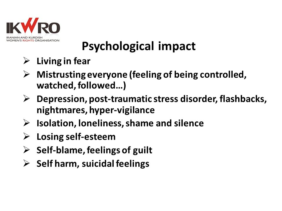 Psychological impact Living in fear