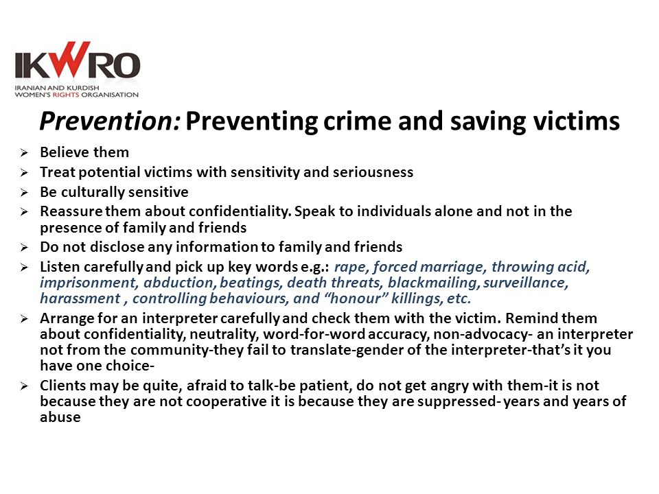 Prevention: Preventing crime and saving victims