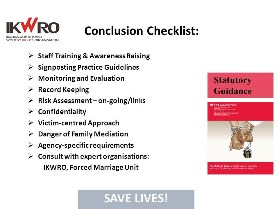 Conclusion Checklist: