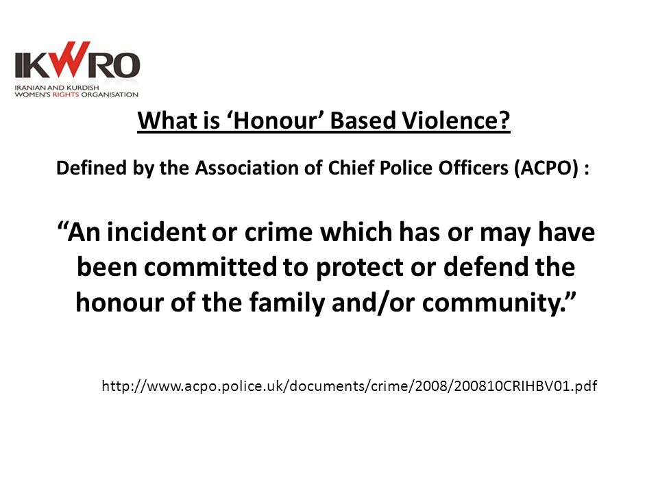 What is 'Honour' Based Violence