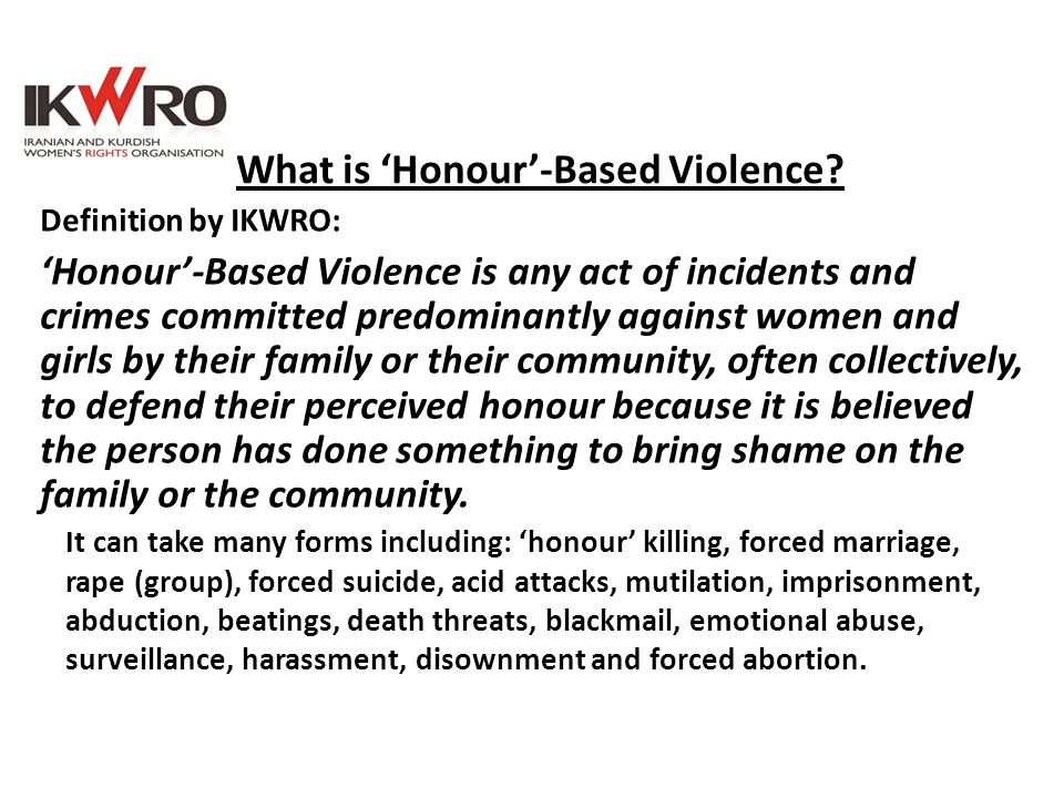 What is 'Honour'-Based Violence