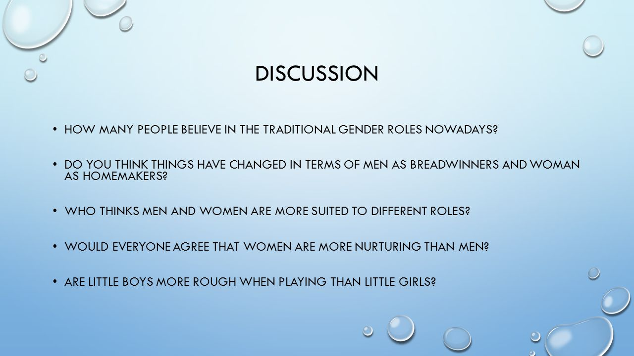 discussion How many people believe in the traditional gender roles nowadays