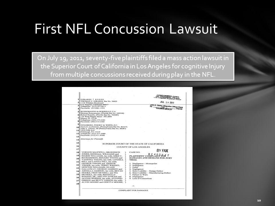 First NFL Concussion Lawsuit