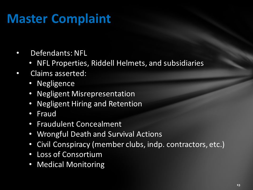 Master Complaint Defendants: NFL