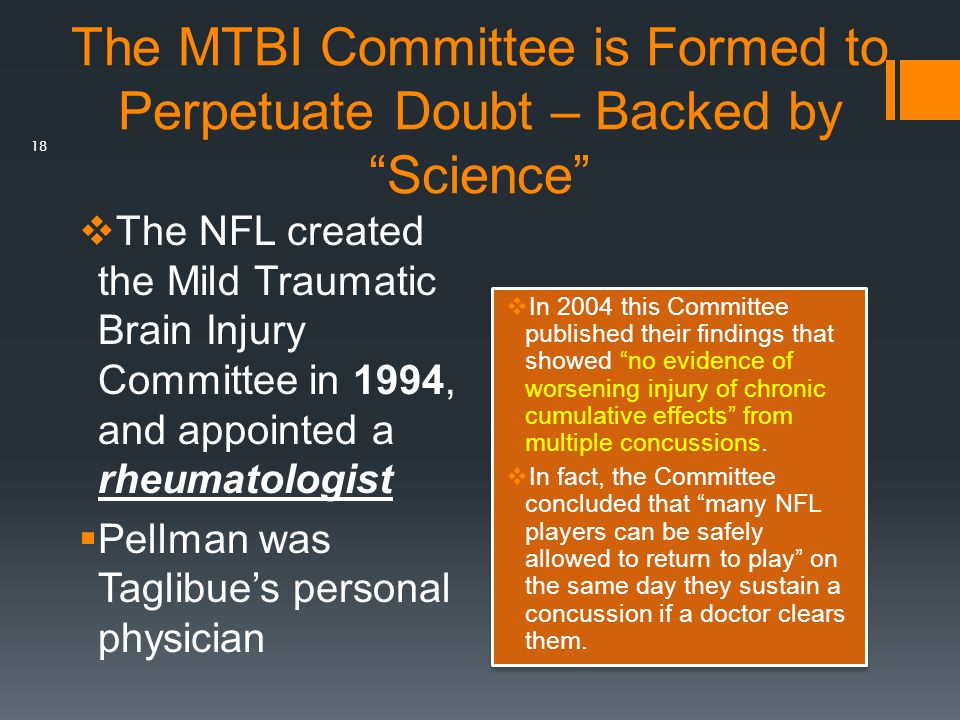 The MTBI Committee is Formed to Perpetuate Doubt – Backed by Science
