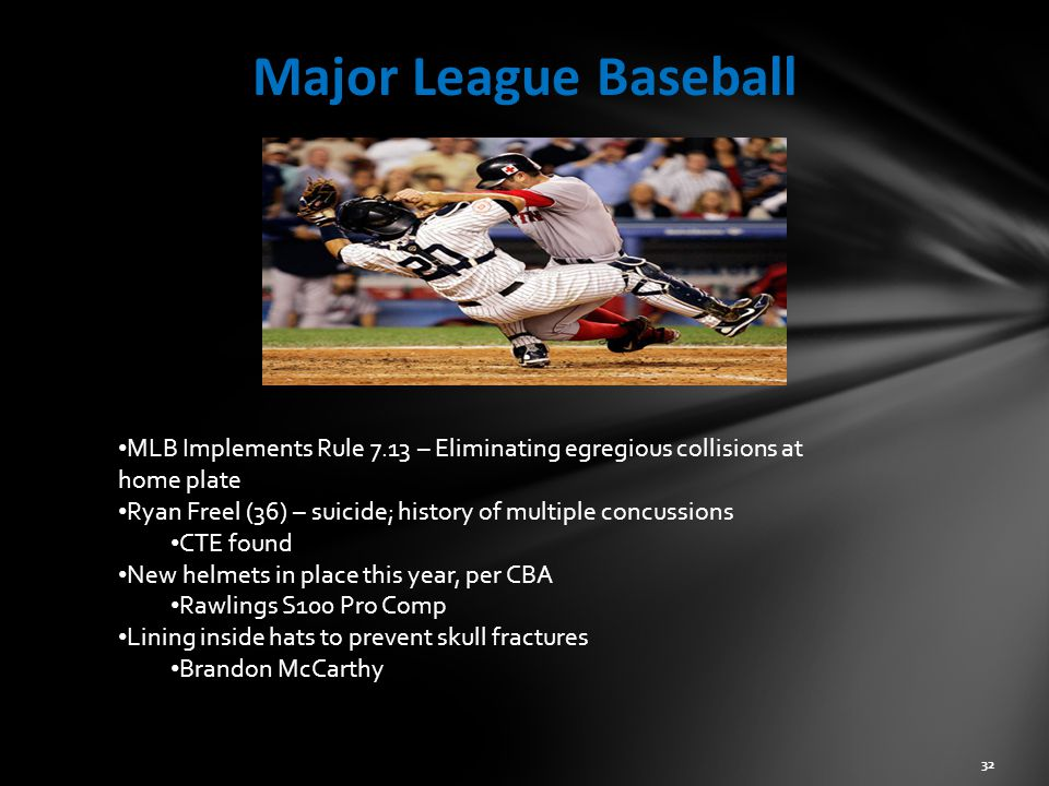 Major League Baseball MLB Implements Rule 7.13 – Eliminating egregious collisions at home plate.