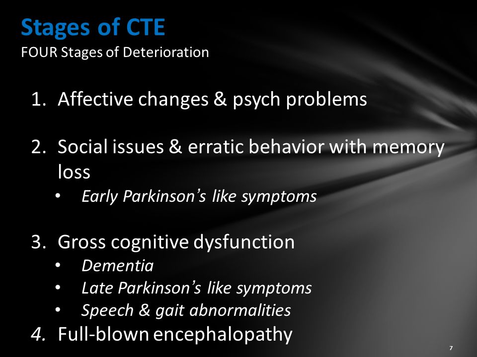 Stages of CTE FOUR Stages of Deterioration