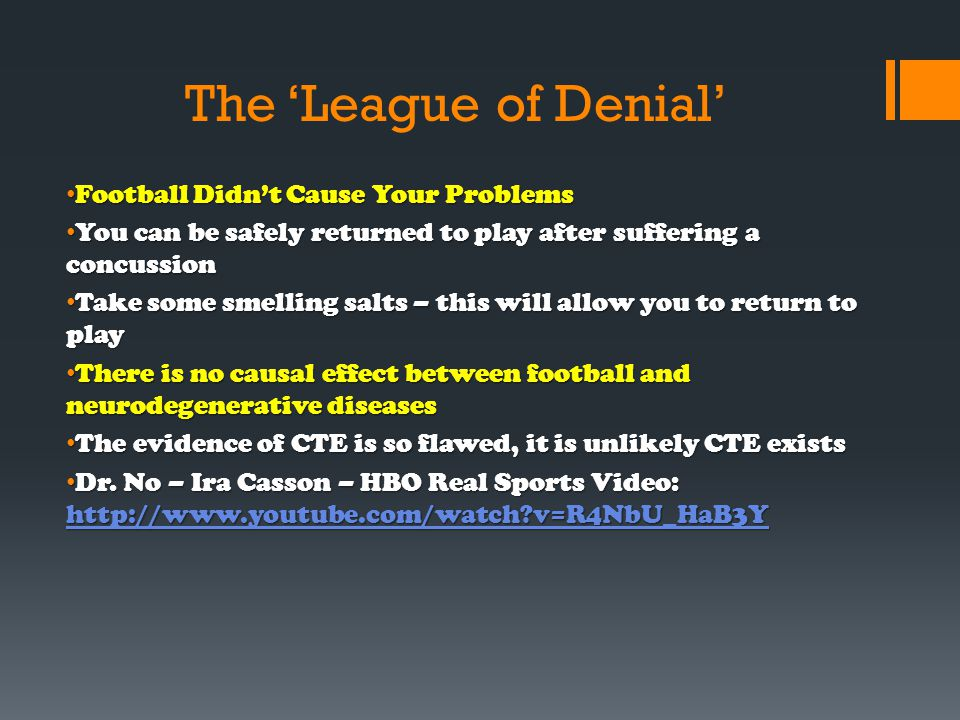 The 'League of Denial' Football Didn't Cause Your Problems