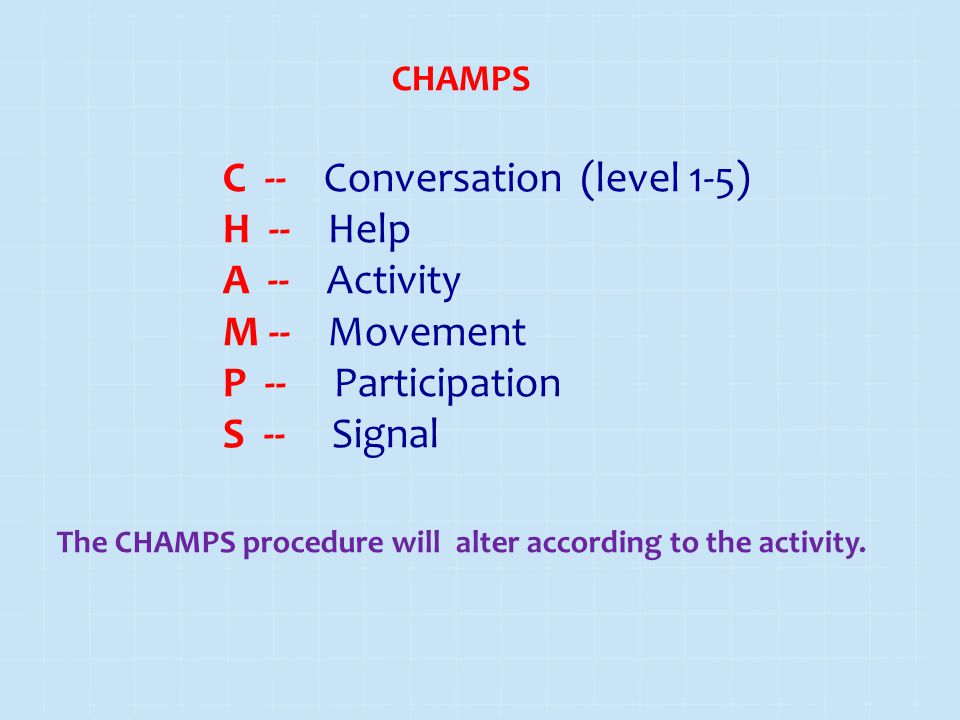 The CHAMPS procedure will alter according to the activity.