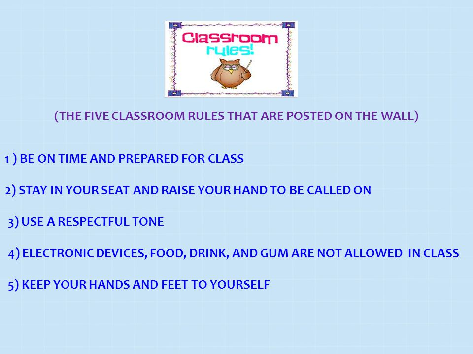 (THE FIVE CLASSROOM RULES THAT ARE POSTED ON THE WALL)