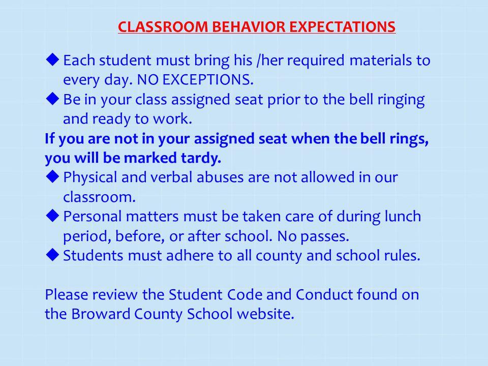 CLASSROOM BEHAVIOR EXPECTATIONS