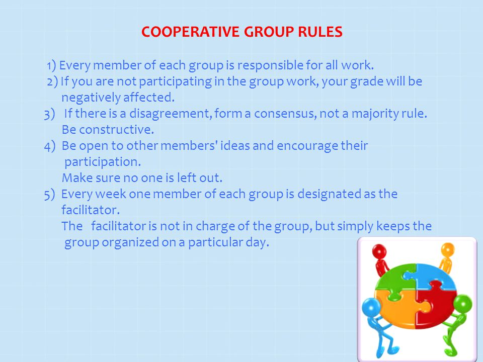 1) Every member of each group is responsible for all work.