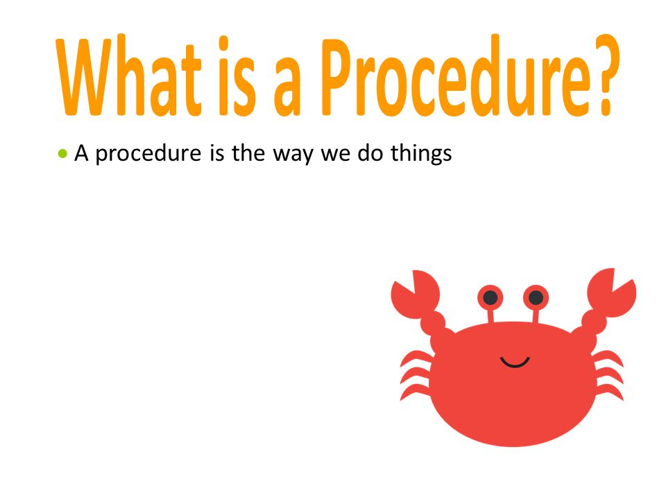 What is a Procedure A procedure is the way we do things