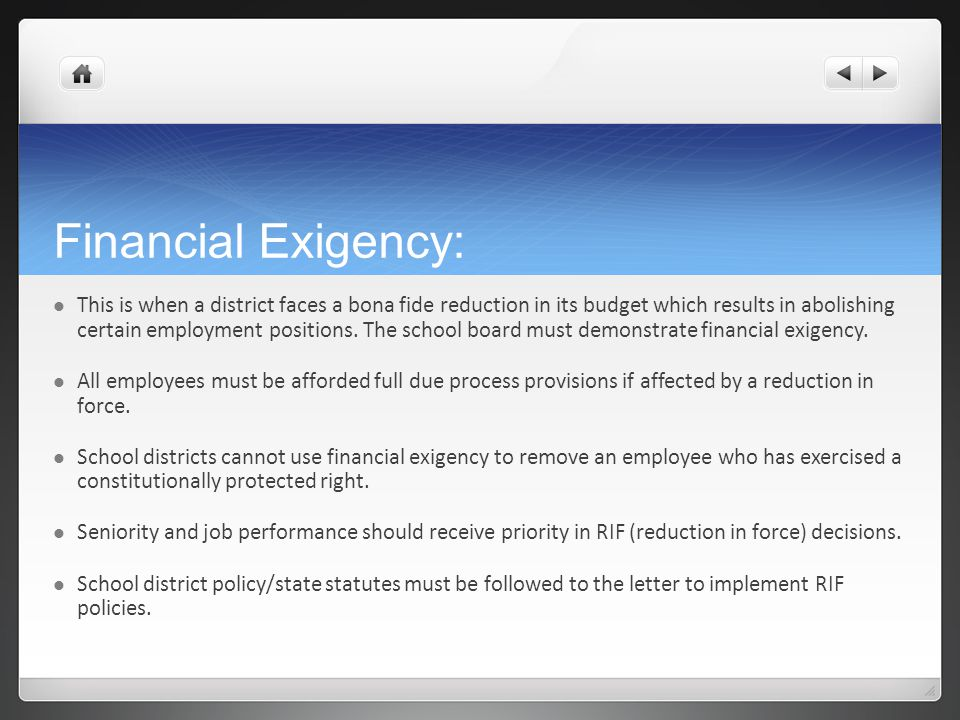 Financial Exigency: