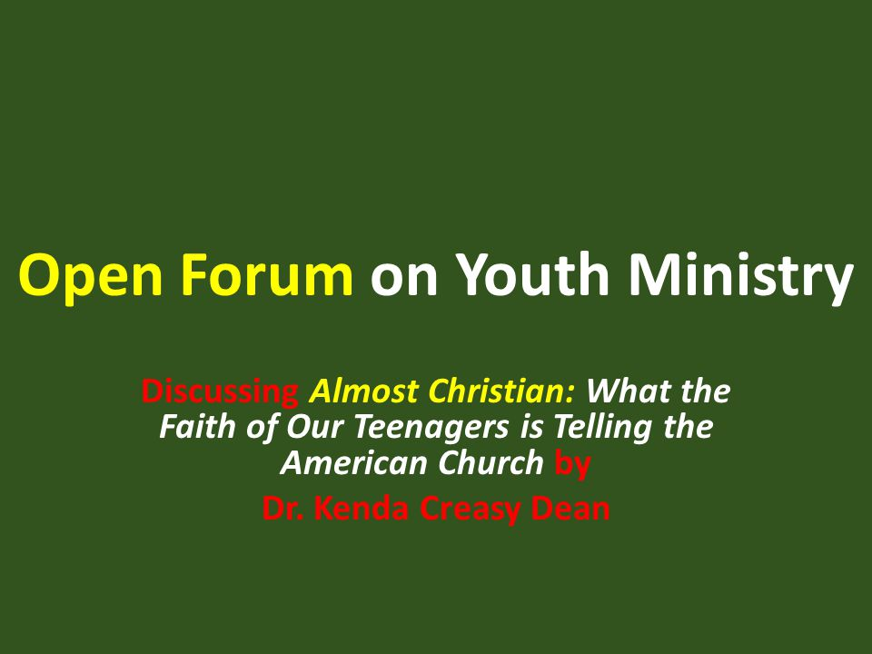 Open Forum on Youth Ministry