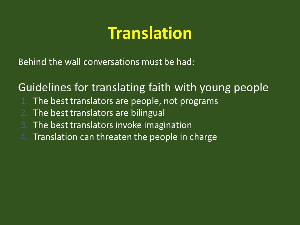 Translation Guidelines for translating faith with young people