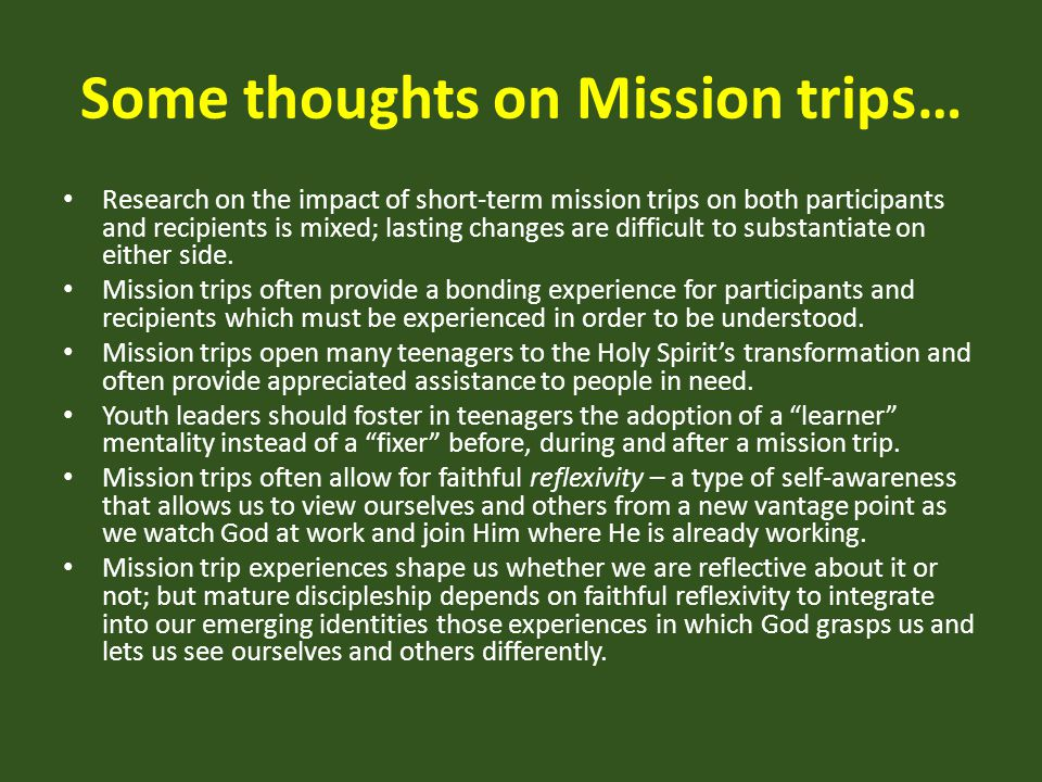 Some thoughts on Mission trips…