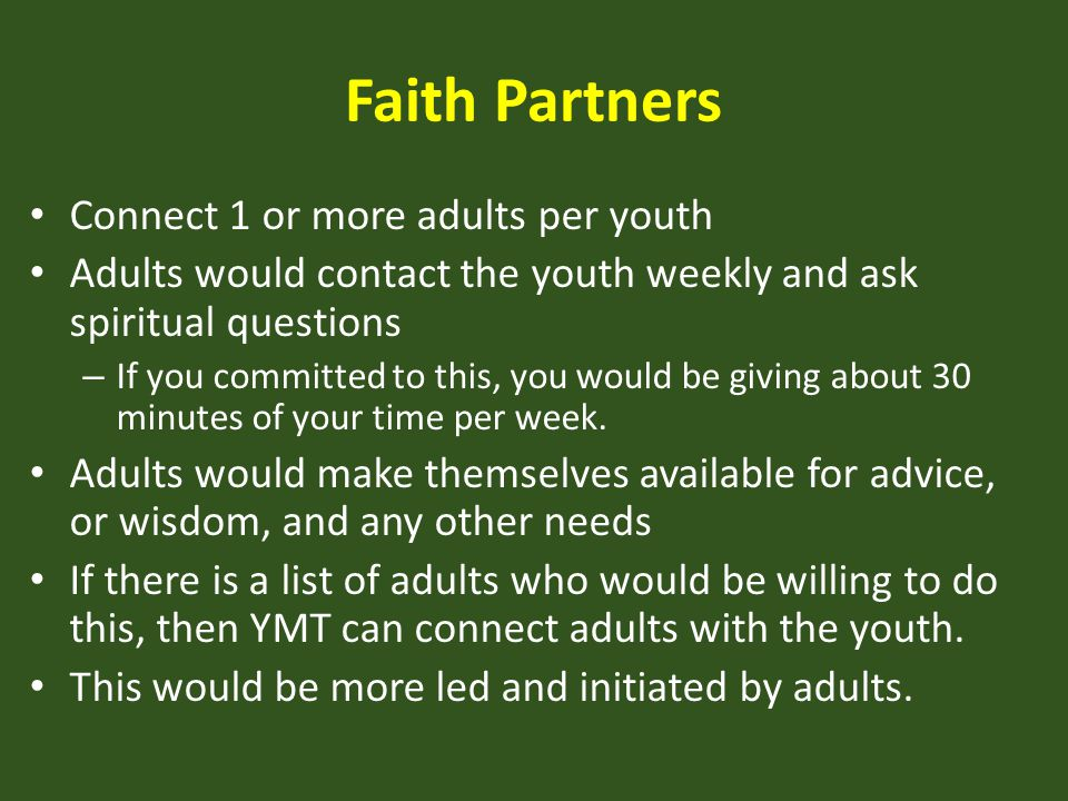 Faith Partners Connect 1 or more adults per youth