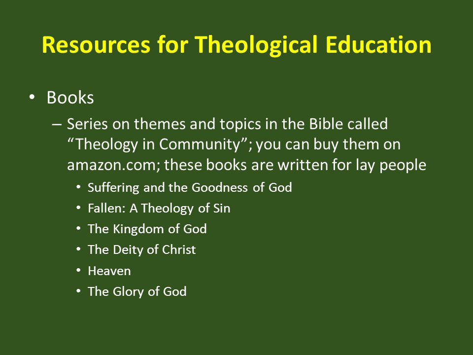 Resources for Theological Education
