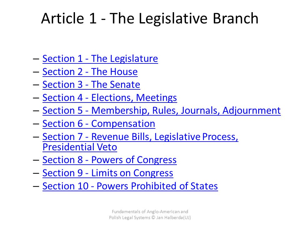 Article 1 - The Legislative Branch