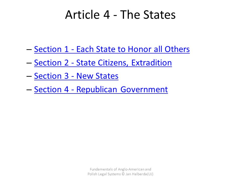 Article 4 - The States Section 1 - Each State to Honor all Others