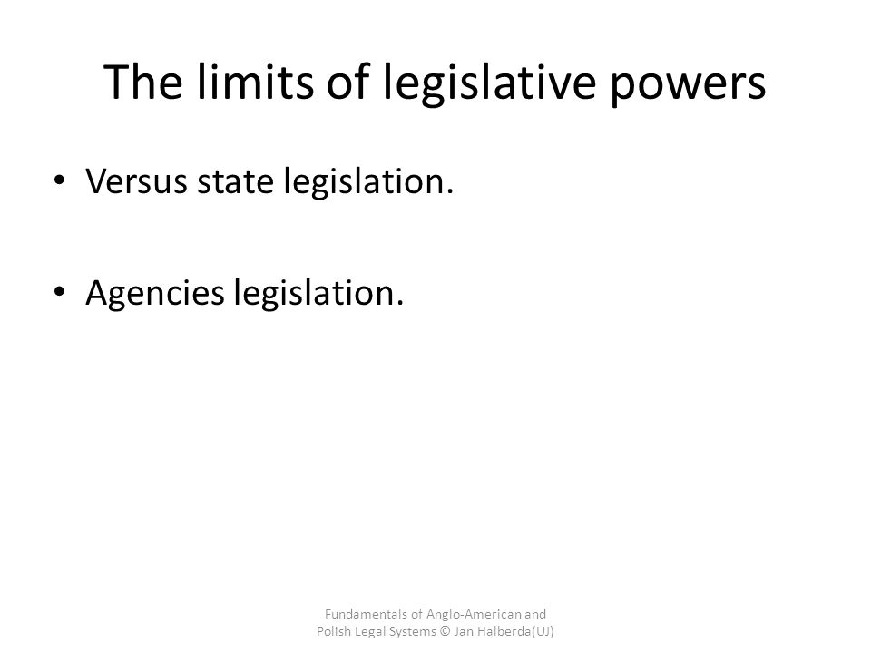 The limits of legislative powers