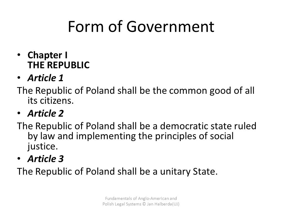 Form of Government Chapter I THE REPUBLIC Article 1