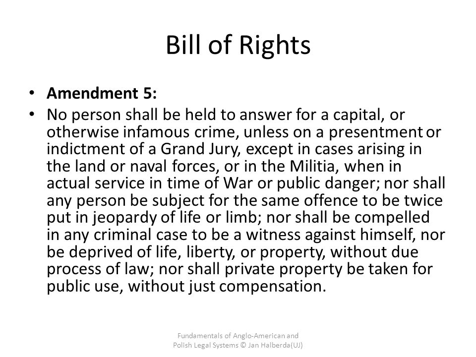 Bill of Rights Amendment 5: